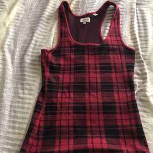 Tops - Black and Red plaid tank